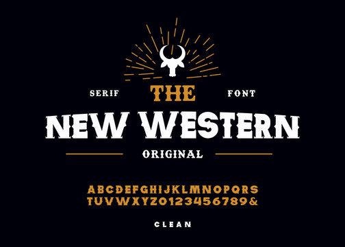 Western style retro alphabet font.