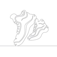 continuous single drawn line art doodle sneaker