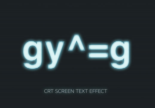 Old monitor CRT Screen Text Effect Mockup