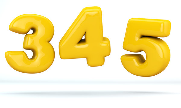 Numbers glossy plastic yellow, numbers 3, 4, 5. 3D render of bubble, isolated on white Background, path save.