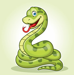 a cute anaconda Snake cartoon, circular sitting or standing while smiling.