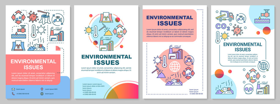 Environmental issues brochure template. Eco problems. Flyer, booklet, leaflet print, cover design with linear illustrations. Vector page layouts for magazines, annual reports, advertising posters