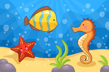Illustration of sea animals