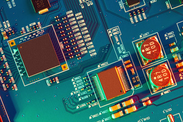 Electronic circuit board close up. Wall mural