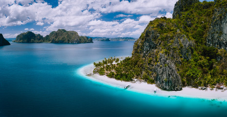 El Nido, Palawan, Philippines. Aerial drone shot of Ipil beach located on Pinagbuyutan Island....