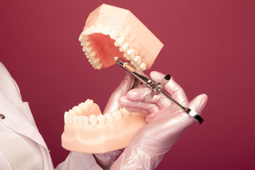 Closeup picture of showing prosess of making an anaesthesia in the jaw