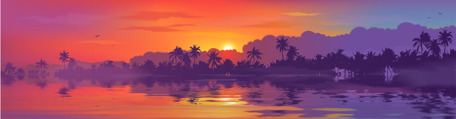 Colorful tropical sunset in palm trees forest and calm water reflection. Vector ocean beach landscape illustration for horizontal banner Fotomurales