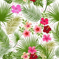 Vector tropical jungle seamless pattern with palm tree leaves