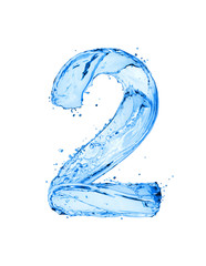 Number 2 made of water splashes, isolated on a white background