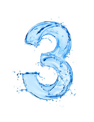 Fototapete - Number 3 made of water splashes, isolated on a white background