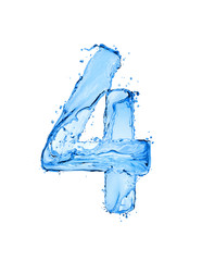 Fototapete - Number 4 made of water splashes, isolated on a white background