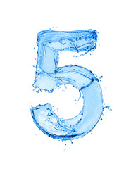 Fototapete - Number 5 made of water splashes, isolated on a white background