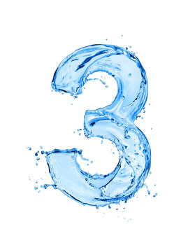 Number 3 made of water splashes, isolated on a white background