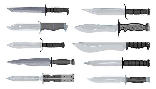 Types of Military Knives. Typical Hunter Knives. Blade Types. American Tanto. Steel Arms. Vector graphics to design.