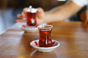 Turkish Tea on classic glass, it is a tradition serve after food any Turkish restaurant in Turkey