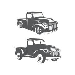 Monochrome illustration of set classic retro style truck. Isolated on white.