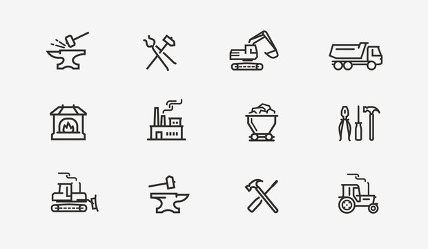 Industry icon set. Factory, manufacture, construction symbol. Vector illustration