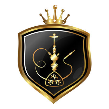 Golden hookah and crown symbol on a shield