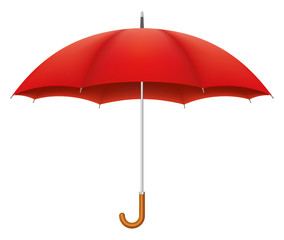 Red umbrella on white background. Vector