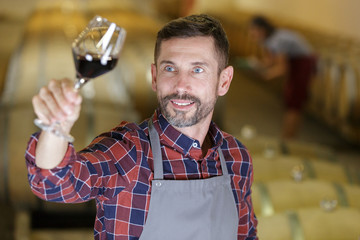concentrated man holding glass of wine
