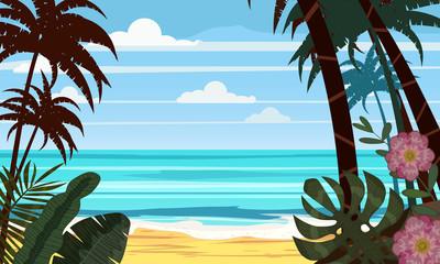 Seascape beach landscape ocean - Exotic plants leaves and palms.