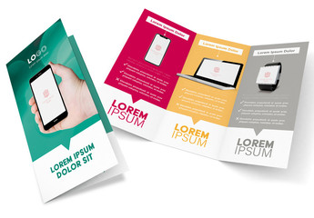 Trifold Brochure Layout with Digital Devices