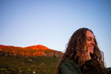Portrait of a smiling woman, Stellenbosch, Western Cape, South Africa Wall mural
