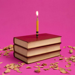 Conceptual birthday cake with a candle