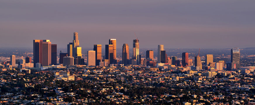 City skyline at sunset, Los Angeles, California, United States