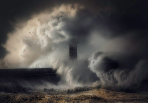 Waves crashing against a lighthouse and sea wall, italy