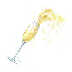Glass of a champagne and splashes.Picture of a alcoholic drink.Watercolor hand drawn illustration.White background.