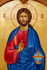 """Vranov, Slovakia. 2019/8/22. Icon of the Christ Pantocrator (Christ """"Almighty"""" or """"All-powerful"""" or """"Ruler of All"""" or """"Sustainer of the World""""). The church of Saint Elijah. Convent of the Holy Trinity"""