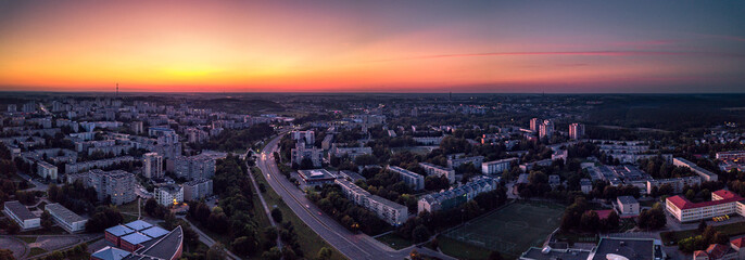 Cityscape at sunset, Alytus, Lithuania