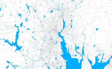 Rich detailed vector map of Providence, Rhode Island, USA