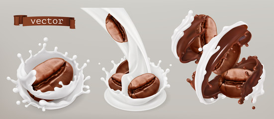 Coffee beans and milk splashes. 3d vector realistic set