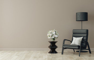 Chair with lamp and coffee table in living room interior, brown wall mock up background, 3D render