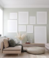Mock up posters frames in Nordic interior background, 3d render