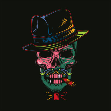 Original vector illustration in comic style, skull gangster in hat and cigar in teeth