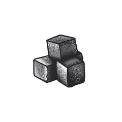 Original monochrome vector illustration in vintage style charcoal cubes for hookah