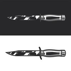 Original monochrome vector illustration of military knife