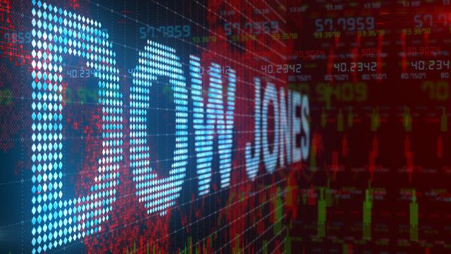 Dow Jones Industrial Average stock market index title motion graphic - Conceptual 3D render