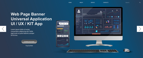 Adapted Application - data analysis,management app, analysis data and Investment for Computer and smartphone. Business app with  graph and analytics. Web page banner for presentation. Vector image