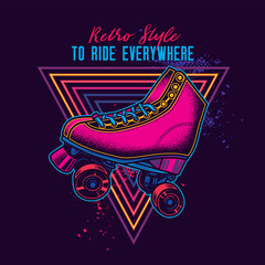 Vintage roller skates in neon style. Original vector illustration.