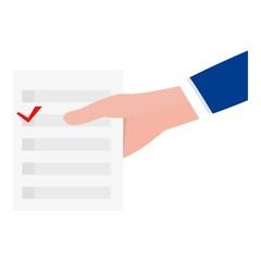 Man take vote paper icon. Flat illustration of man take vote paper vector icon for web design