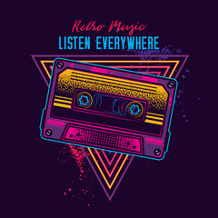 Vintage music cassette with magnetic film in neon style. Original vector illustration.
