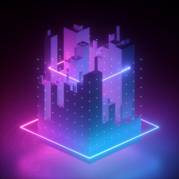 3d render, neon abstract background, geometric shapes in ultraviolet, pink blue glowing light, cybernetic system, futuristic computing technology