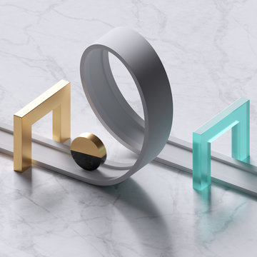 3d render, abstract gold black cylinder rolling on white road loop, minimalist background with marble floor, golden gates, blue glass arch, simple clean design, primitive shapes