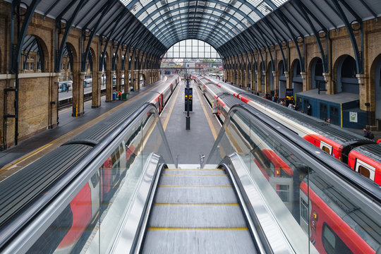 Trains at the platform at King's Cross station in London