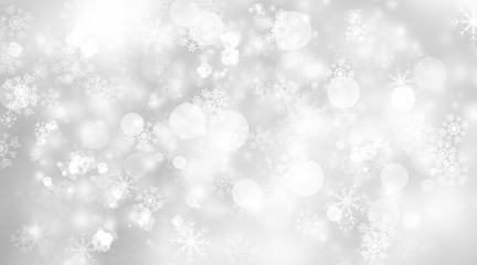 white and gray blur abstract background. bokeh christmas blurred beautiful shiny Christmas lights. Snow background.