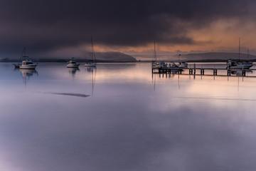 Misty Morning Sunrise Waterscape